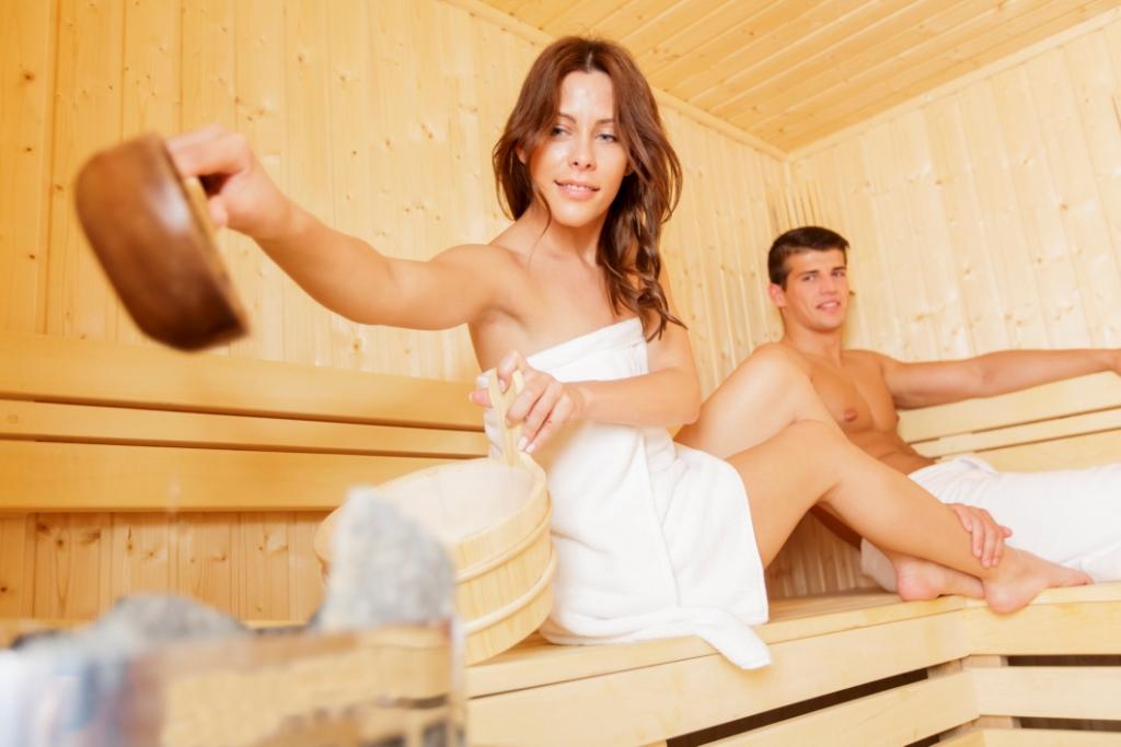 sauna opgieting met lepel